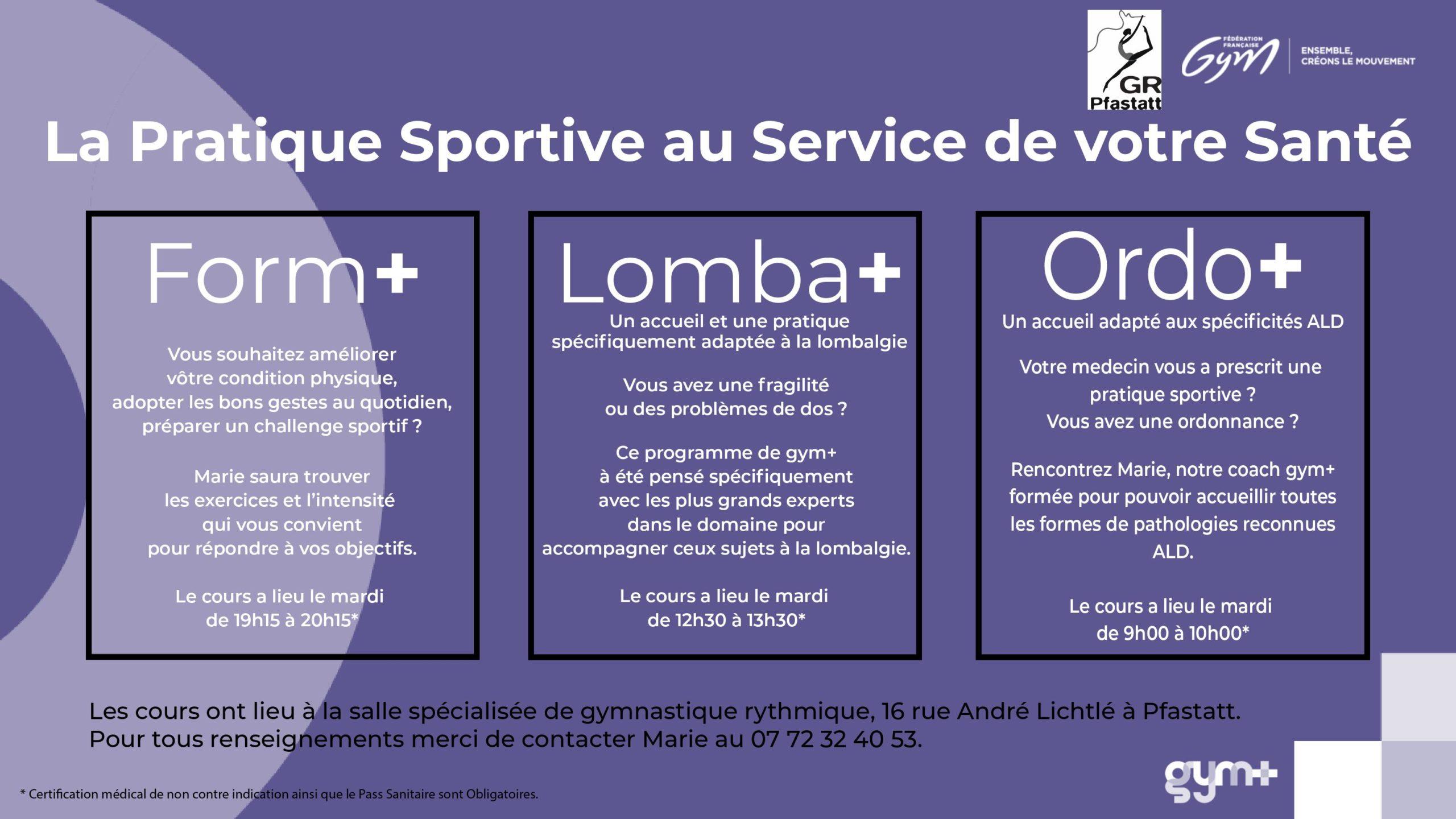 You are currently viewing Cours adultes GYM+ – La pratique sportive au service de votre santé
